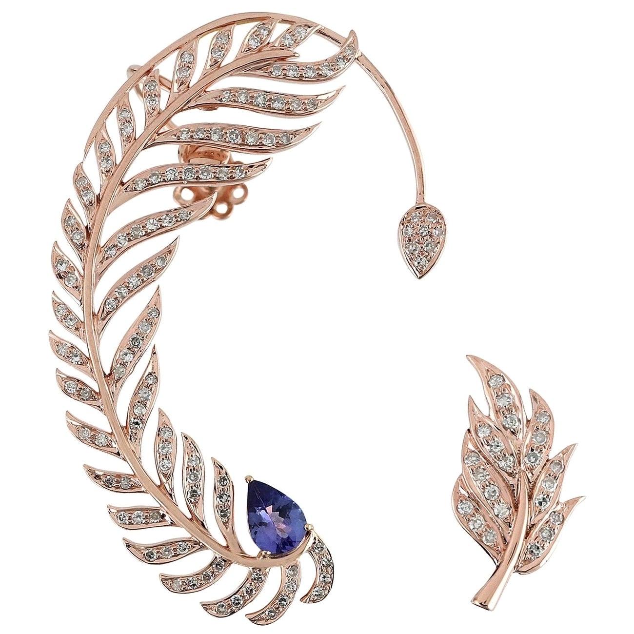 Tanzanite Diamond 18 Karat Gold Feather Ear Climber