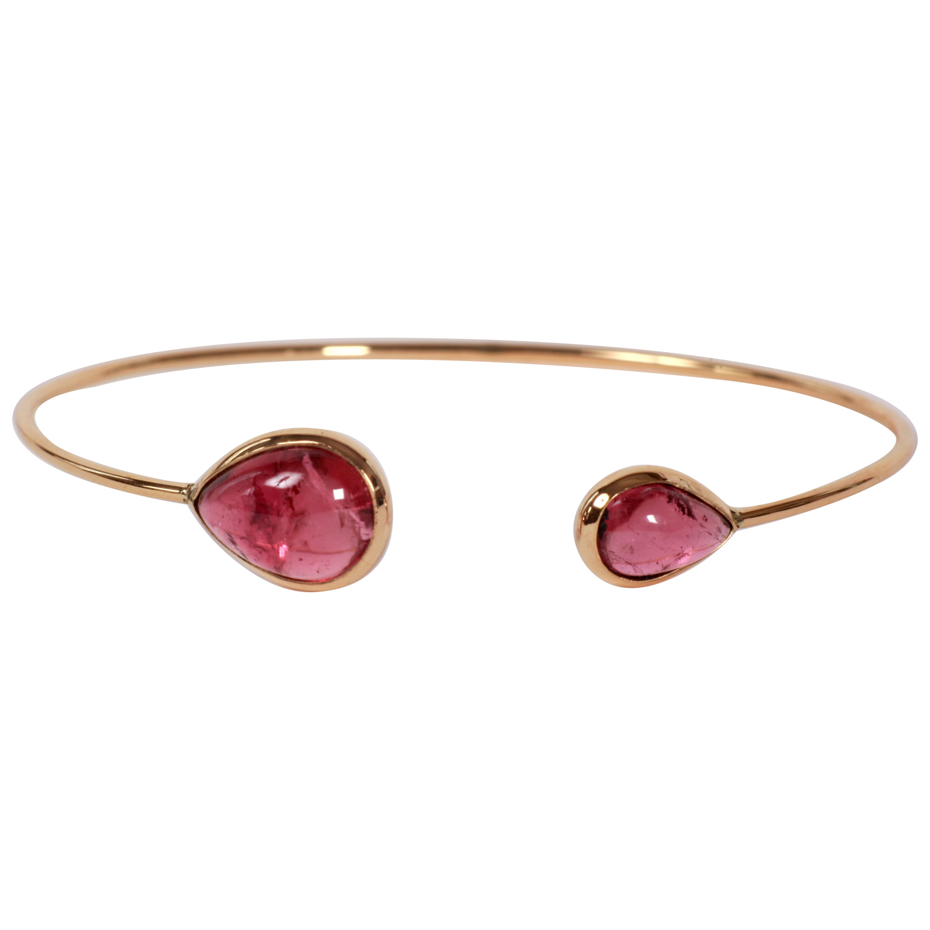 Pink Tourmaline Yellow Gold Bangle Bracelet Created by Marion Jeantet
