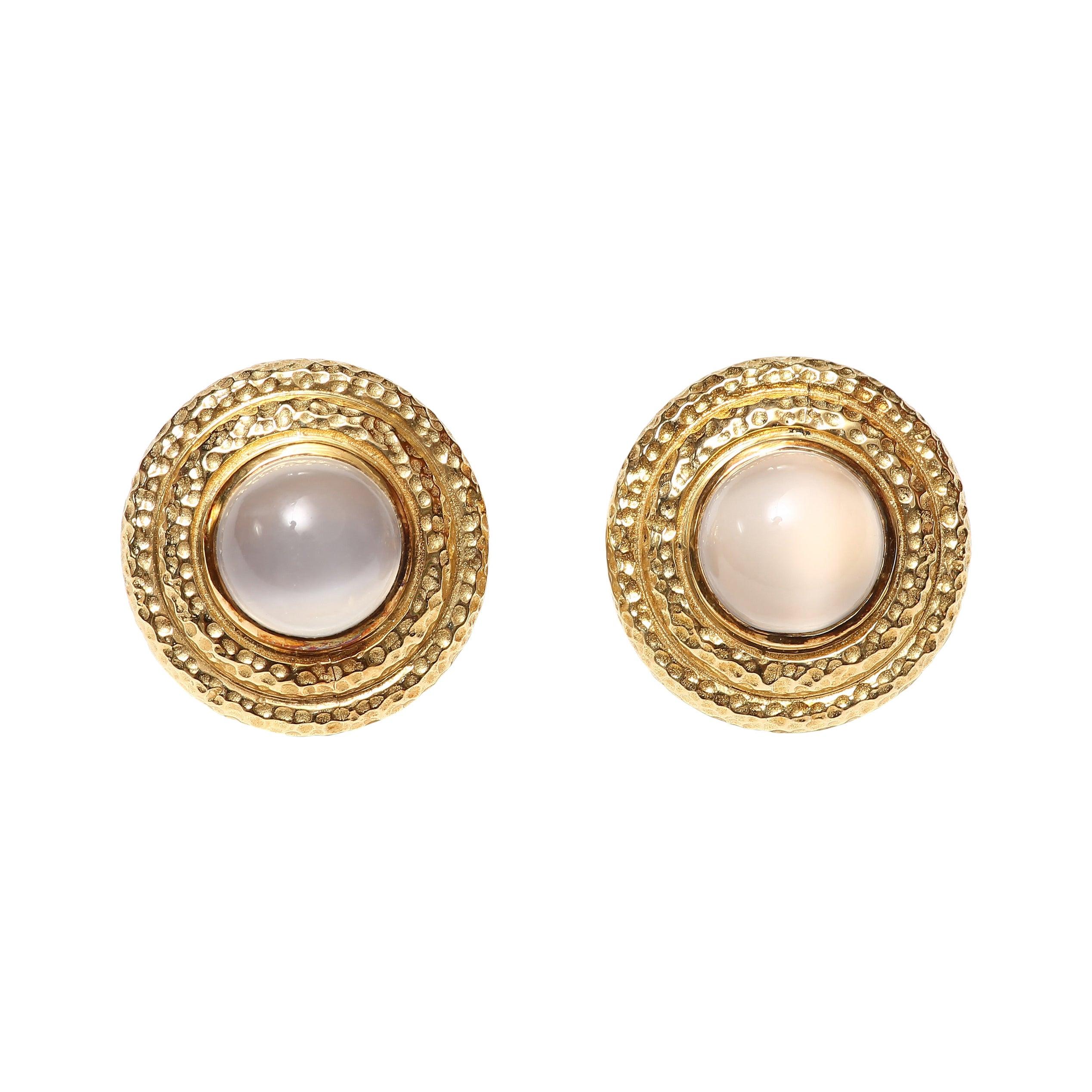 Moonstone Gold Clip-On Earrings