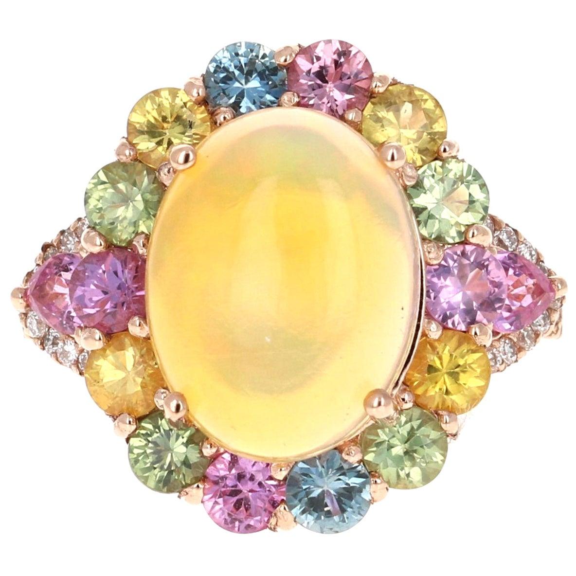 6.05 Carat Oval Cut Opal Sapphire Diamond 14 Karat Rose Gold Cocktail Ring