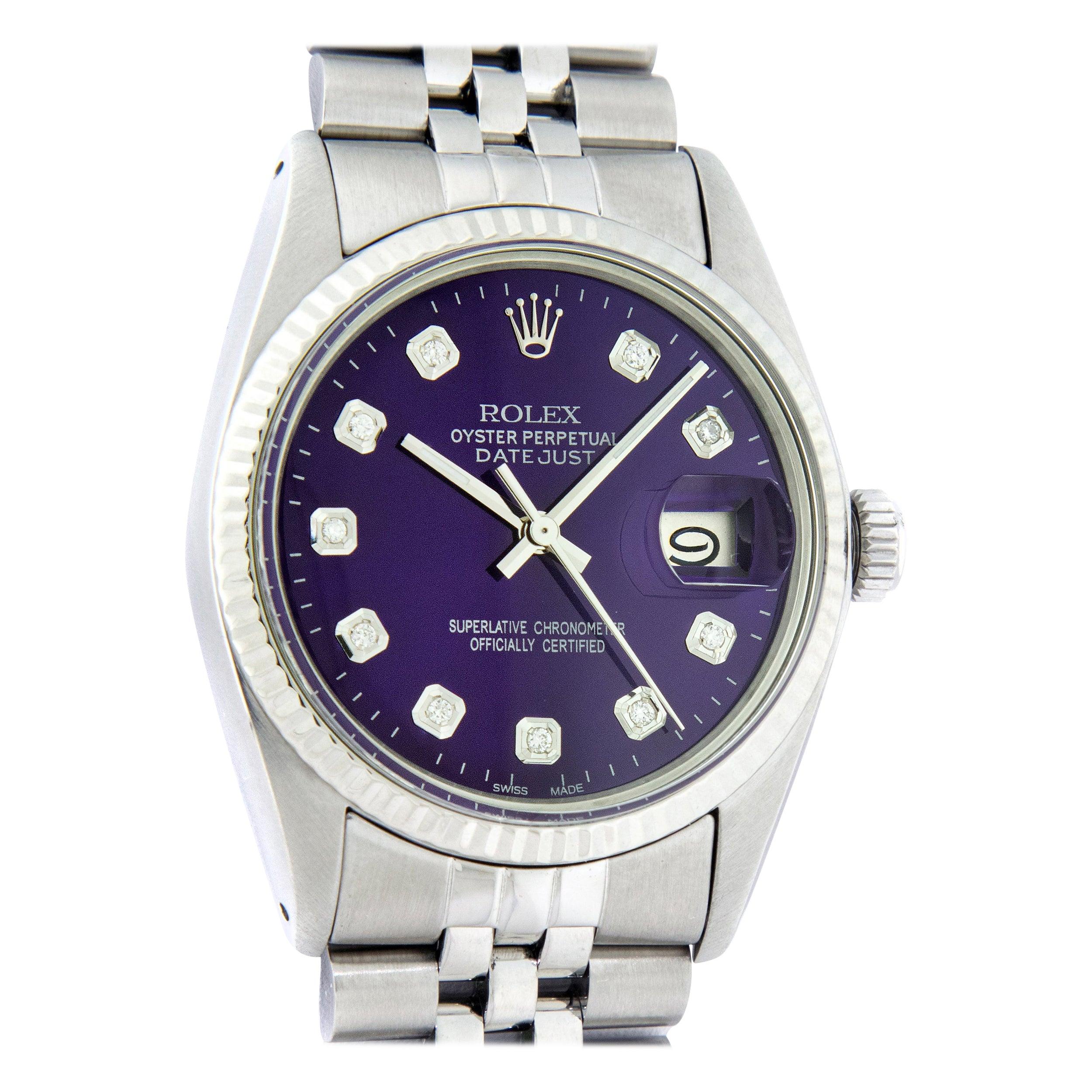 Rolex Men's Datejust Stainless Steel Purple Diamond Fluted Bezel Watch