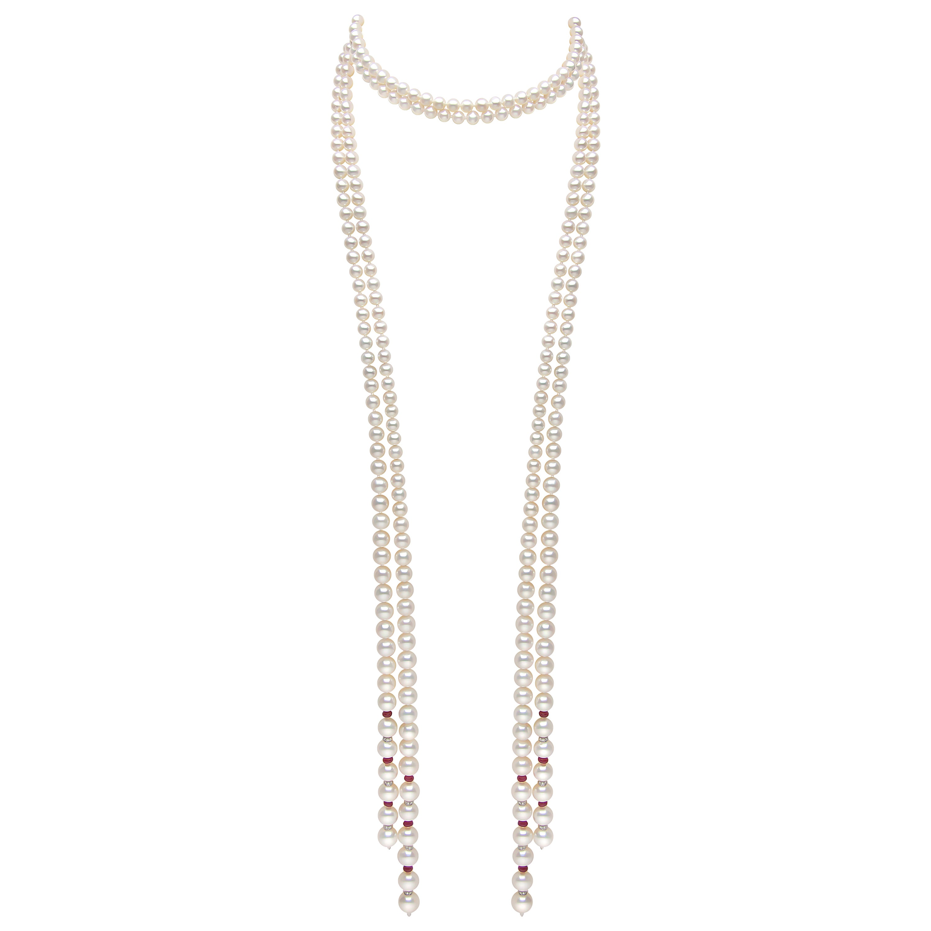 Yoko London Ruby Freshwater Pearl and Diamond Knotted Necklace in 18 Karat Gold