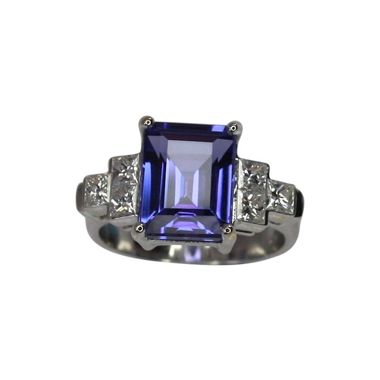 Georgios Collections 18 Karat White Gold Tanzanite Solitaire Ring with Diamonds