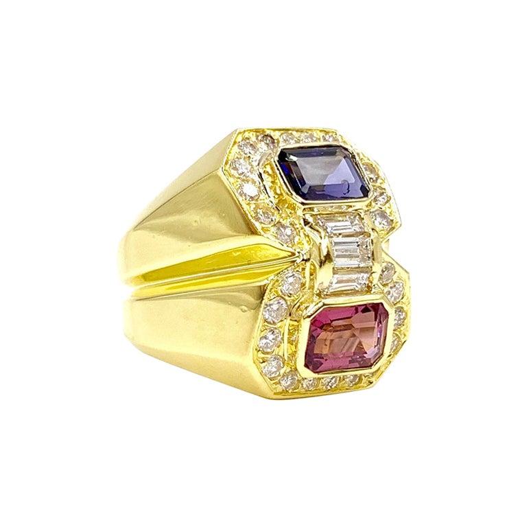 18 Karat Modern Moi Et Toi Ring with Tourmaline, Iolite and Diamonds