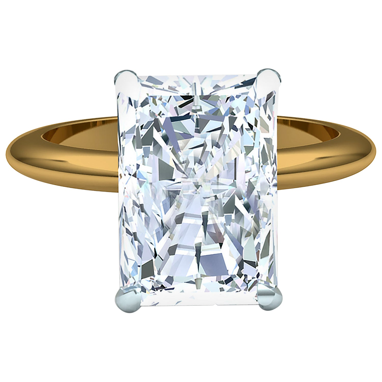 4 Carat Elongated Radiant Diamond Engagement Ring GIA Certified