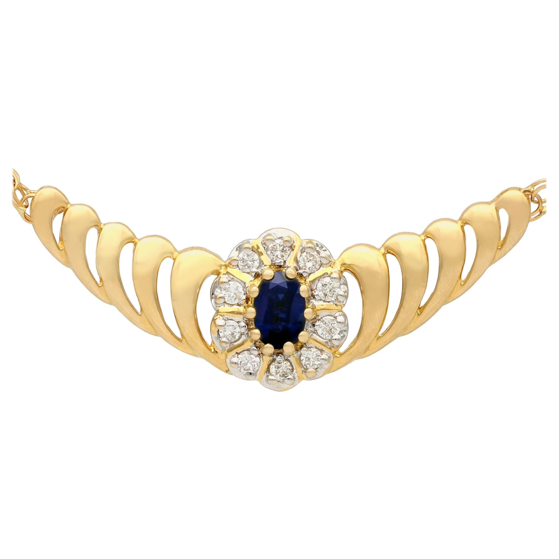 Sapphire and Diamond Yellow Gold Necklace