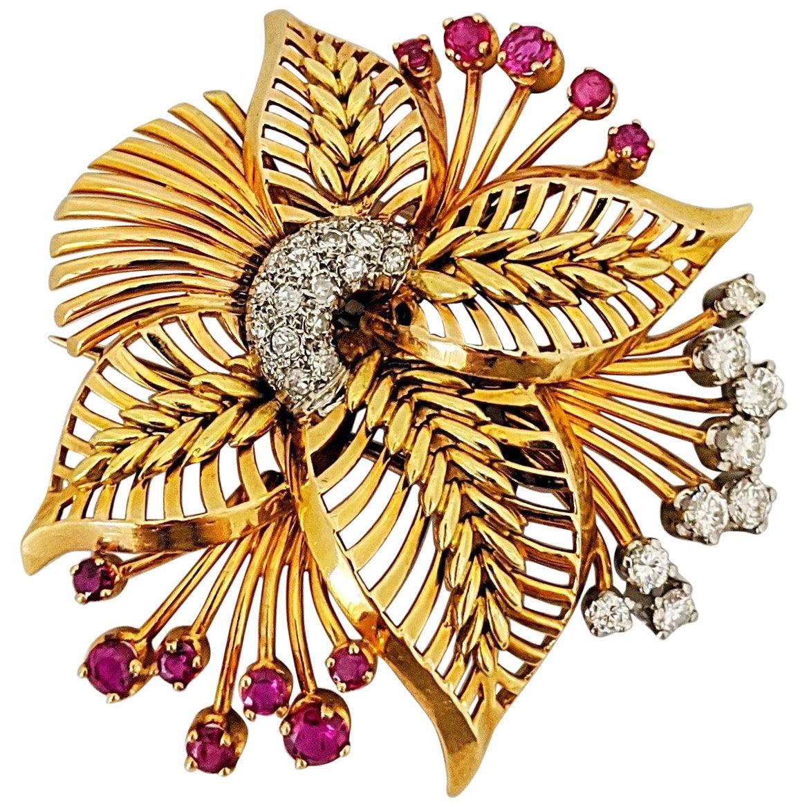 18 Karat Rose Gold Brooch with Diamonds and Rubies, circa 1940s