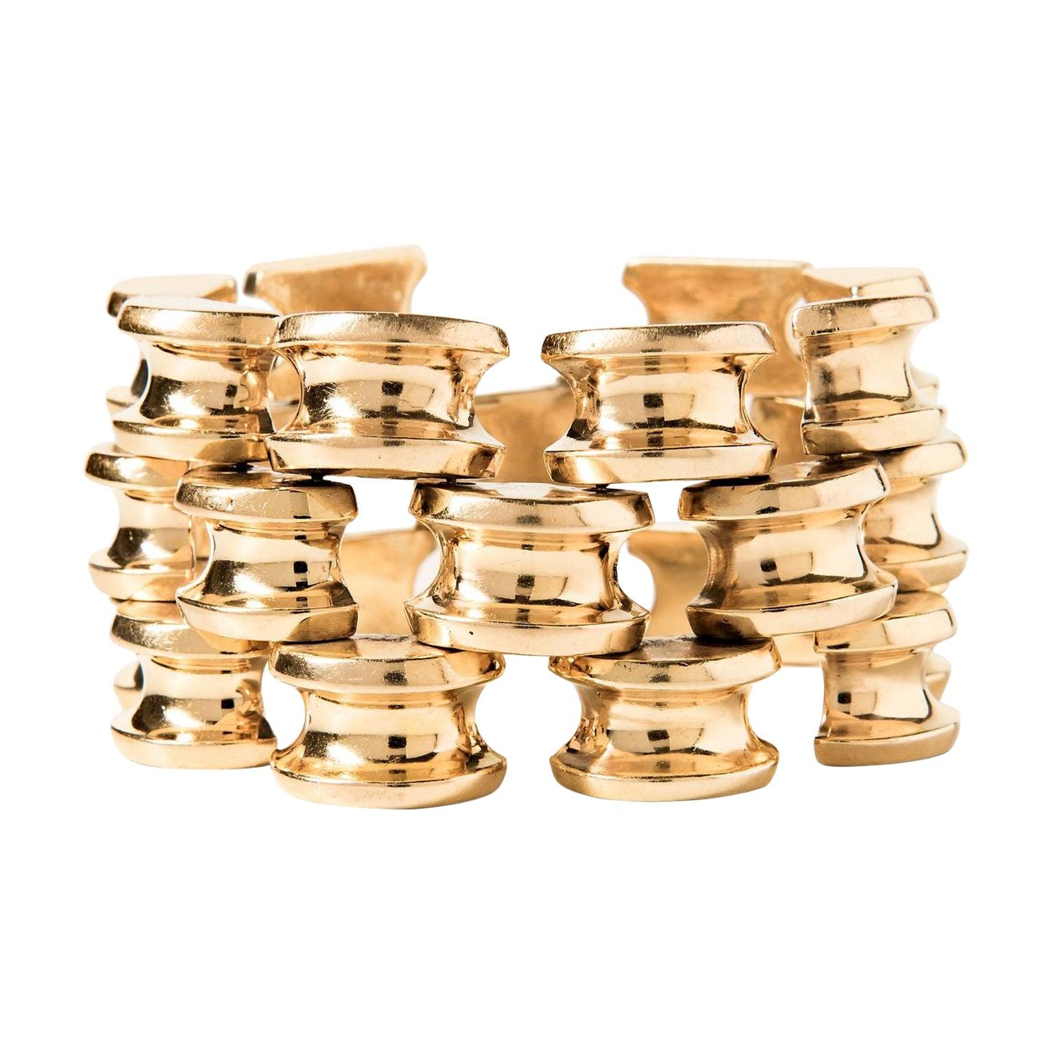 Tiffany & Co. Retro 14 Karat Yellow Gold Bracelet