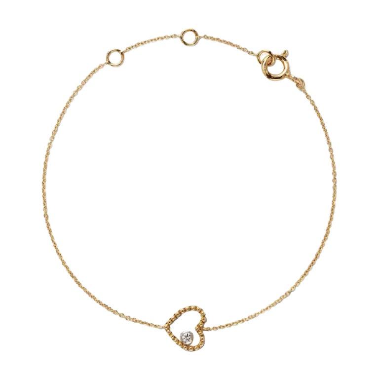 18 Karat Yellow Gold Mye Heart Beading Diamond Bracelet