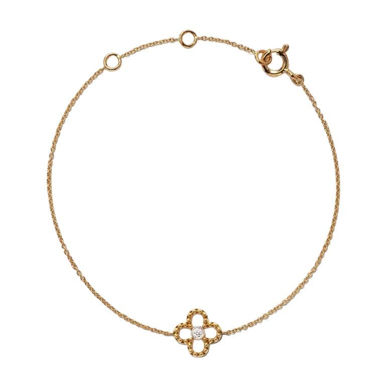 18 Karat Yellow Gold Mye Clover Beading Diamond Bracelet