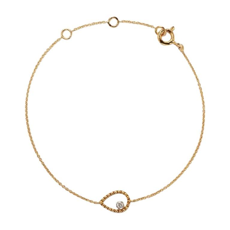 18 Karat Yellow Gold Mye Pear Beading Diamond Bracelet