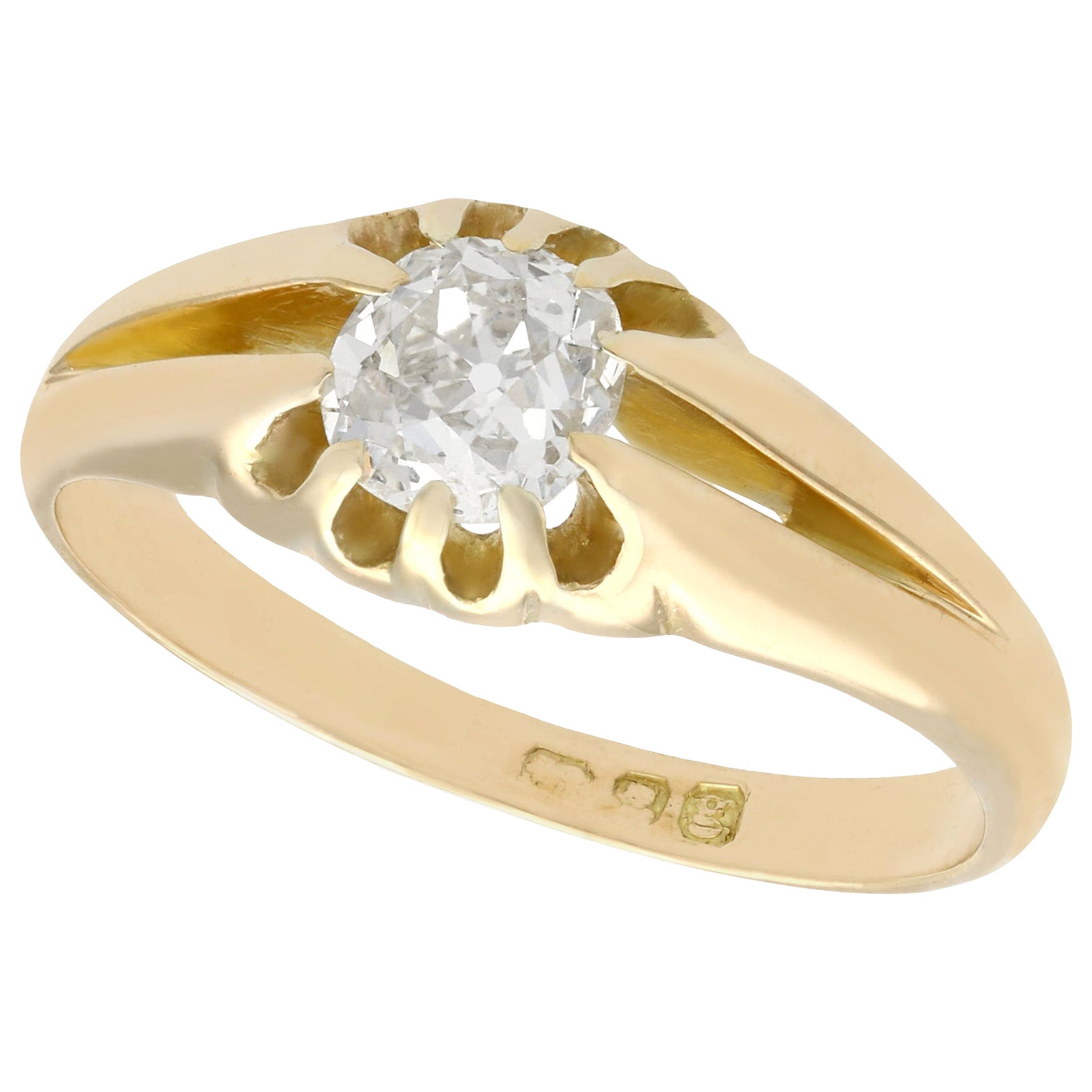 Antique 1900s Diamond and Yellow Gold Ring