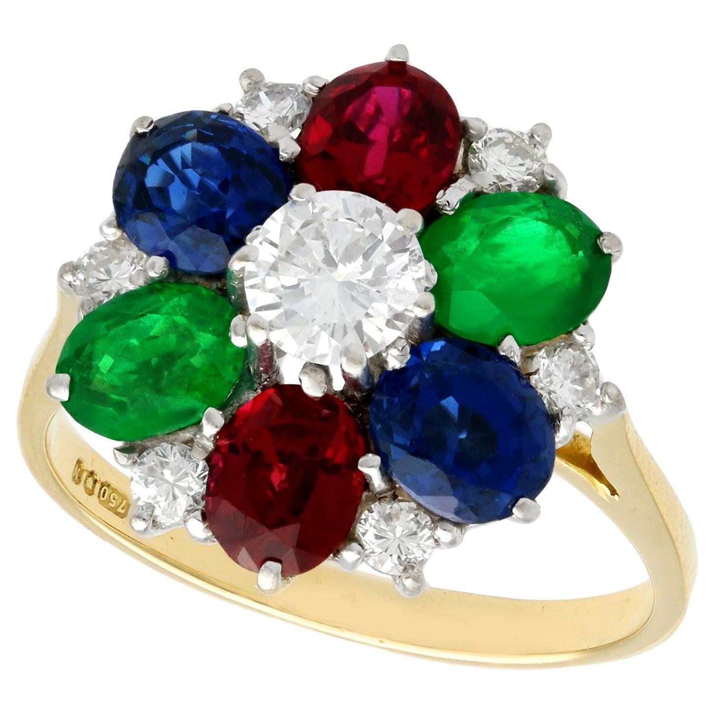 Garnet Sapphire Emerald and Diamond Cluster Ring