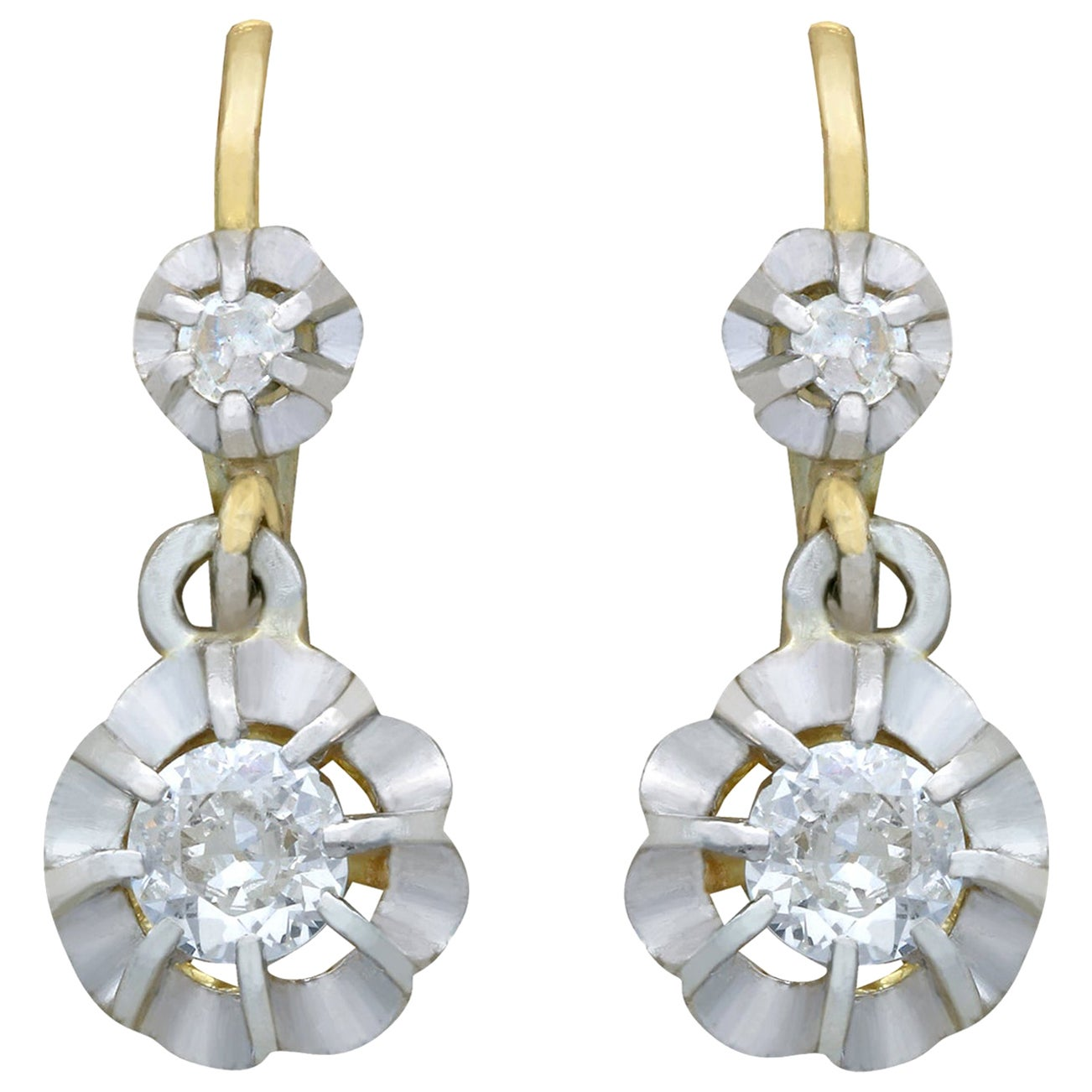 1930s Antique French Diamond and Yellow Gold Drop Earrings