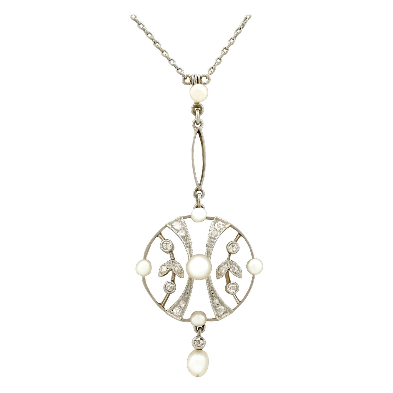 Antique 1910s Seed Pearl and Diamond Yellow Gold Pendant