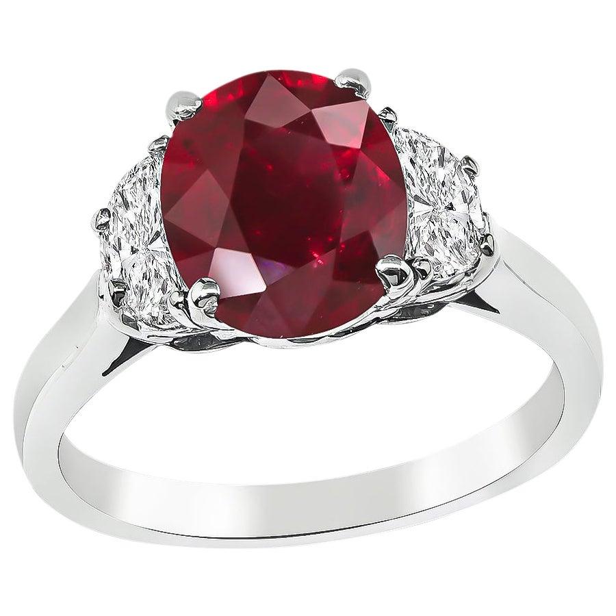 GIA Certified 2.09 Carat Ruby Diamond Engagement Ring