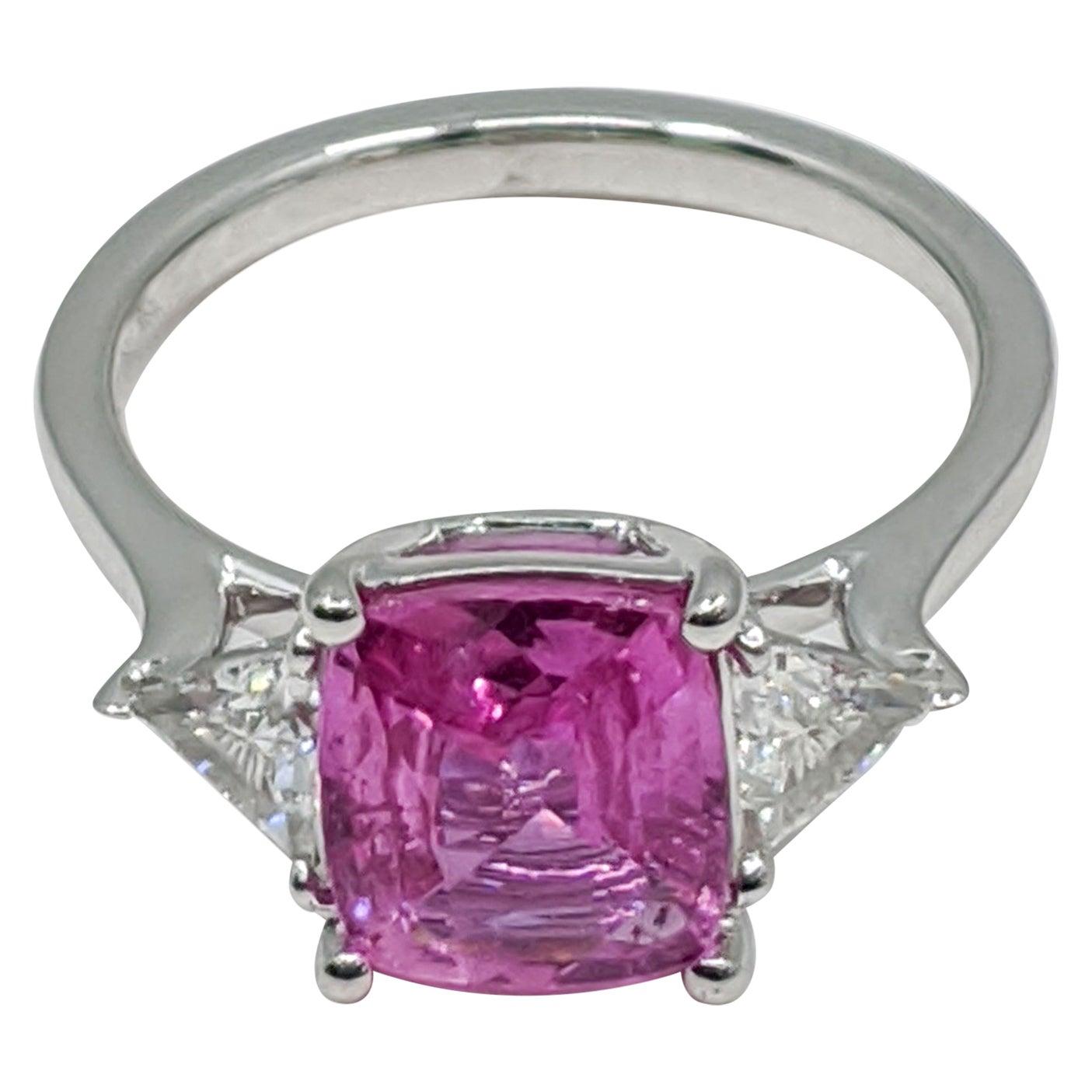 3-Stone Pink Sapphire/White Diamond Engagement Ring, 18 Carat