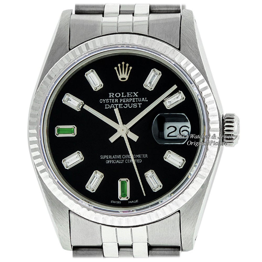 Rolex Men's Datejust Stainless Steel Black Baguette Diamond Fluted Bezel Watch