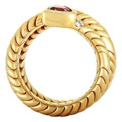 Bvlgari Spiga 18K Yellow Gold Diamond and Pink Tourmaline Bypass Ring