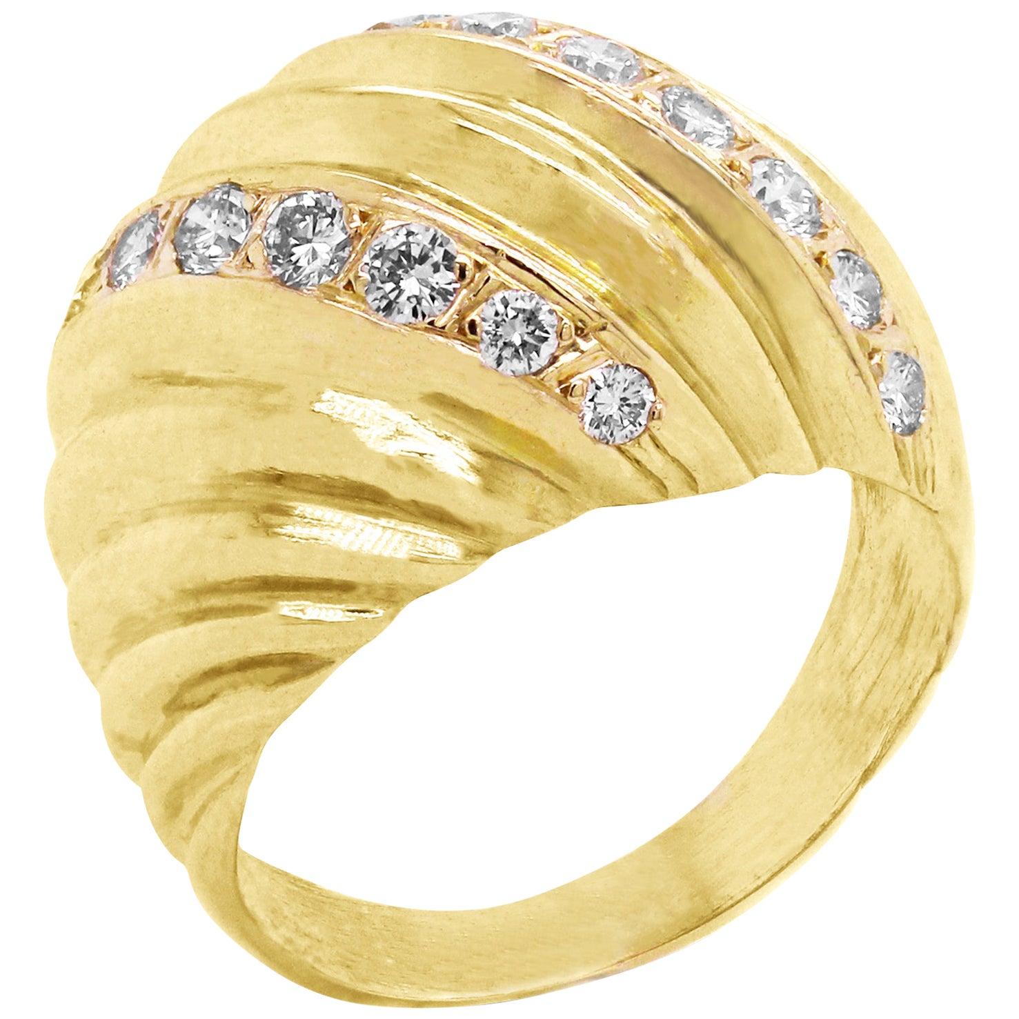 18 Karat Yellow Gold and Diamond Dome Ring