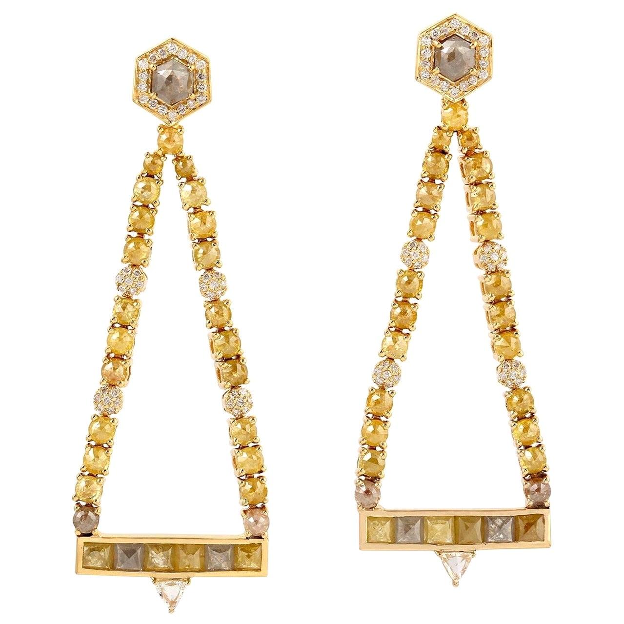 Fancy Diamond 18 Karat Gold Trinity Earrings