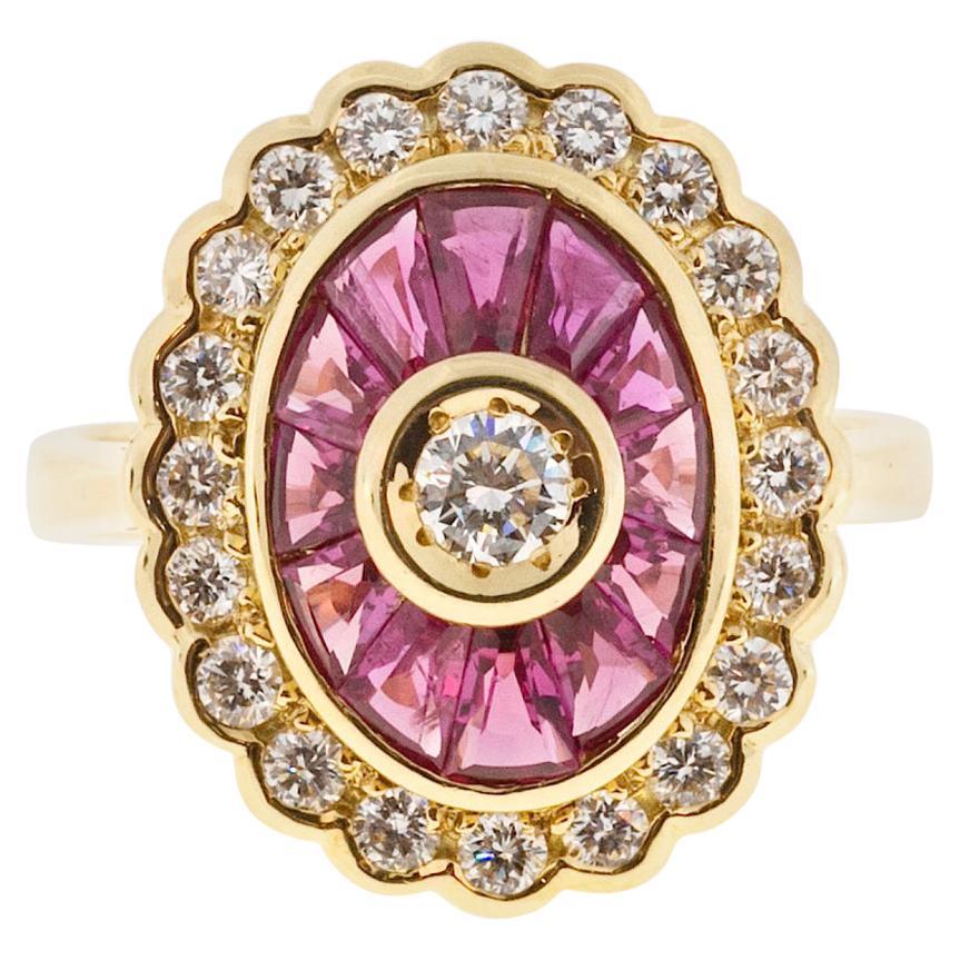 GIA Certified 1.70 Carat Diamond Ruby Yellow Gold Cocktail Ring