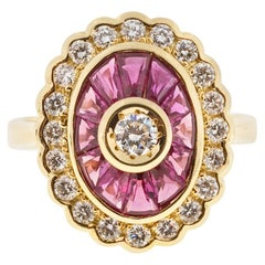 GIA Certified 1.70 Carat Diamond Ruby Yellow Gold Cocktail Ring