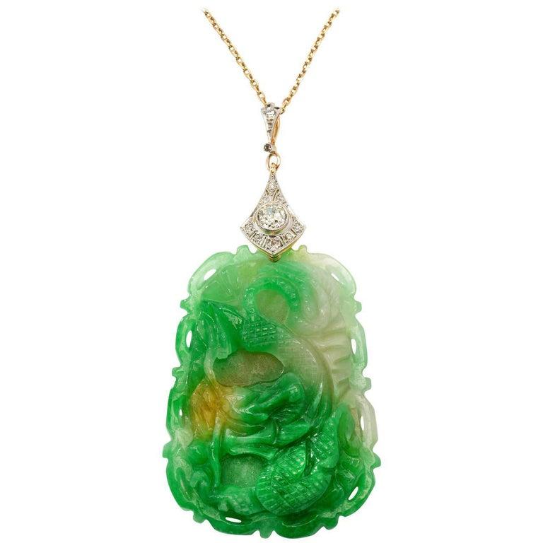 Carved Jade Diamond Gold Pendant For Sale