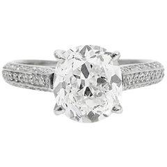 GIA Certified 2.13 Carat Antique Cushion Diamond and Platinum Engagement Ri