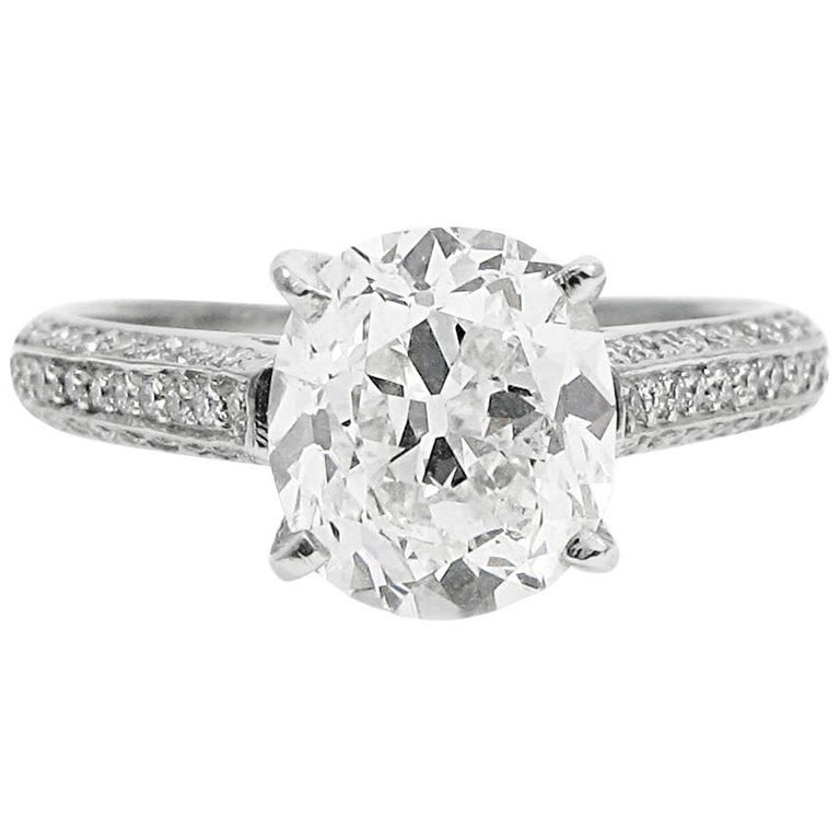 1f9678fe996be GIA Certified 2.13 Carat Antique Cushion Diamond and Platinum Engagement Ri