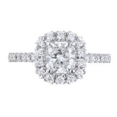 Peter Suchy GIA 1.01 Carat Square Cushion Cut Diamond Platinum Engagement Ring
