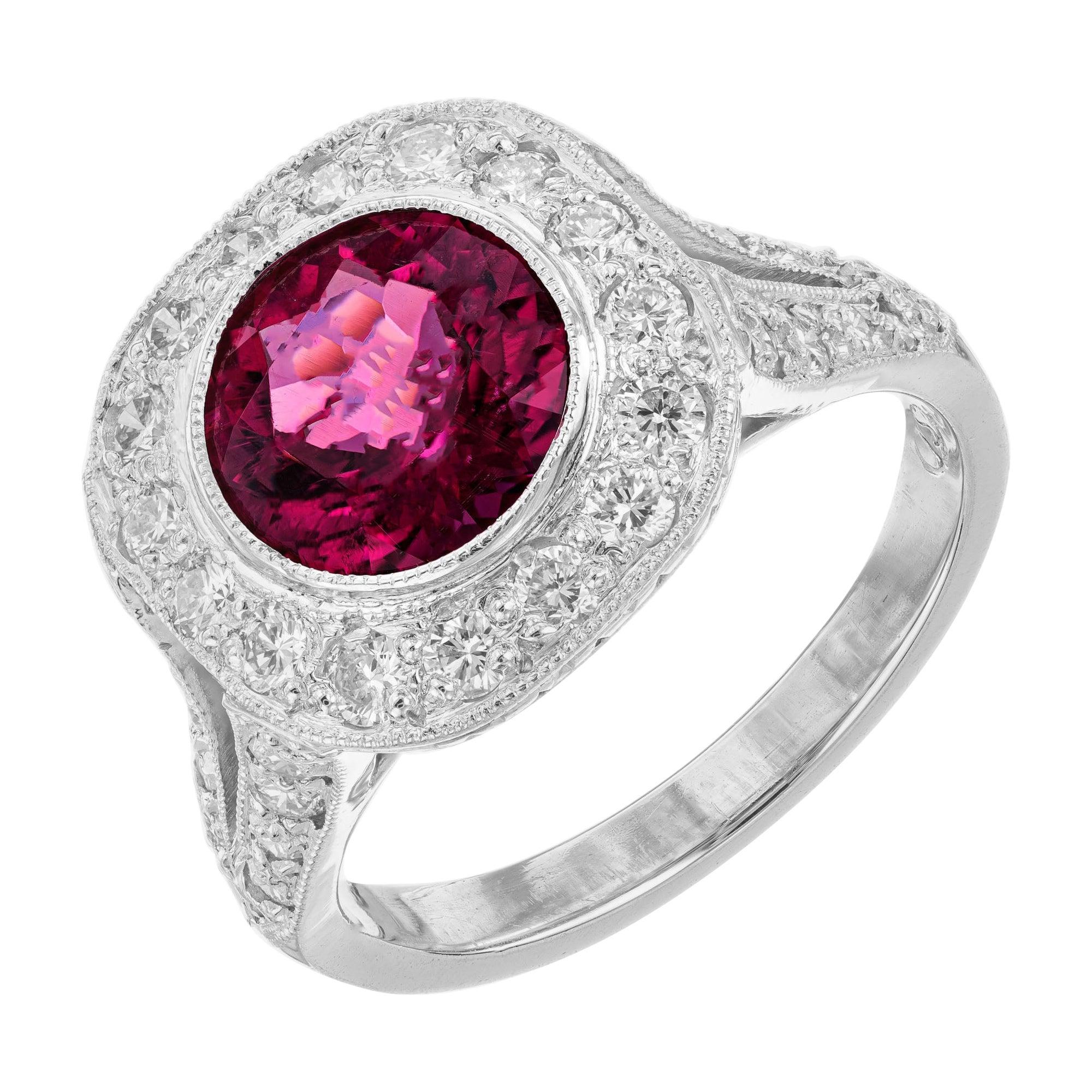 2.20 Carat Pink Red Rubellite Tourmaline Diamond Halo Platinum Engagement Ring