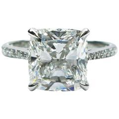3.03 Carat GIA E color Cushion Diamond Platinum Engagement Ring