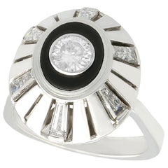 Vintage 1950s Black Onyx and 1.68 Carat Diamond White Gold Cocktail Ring