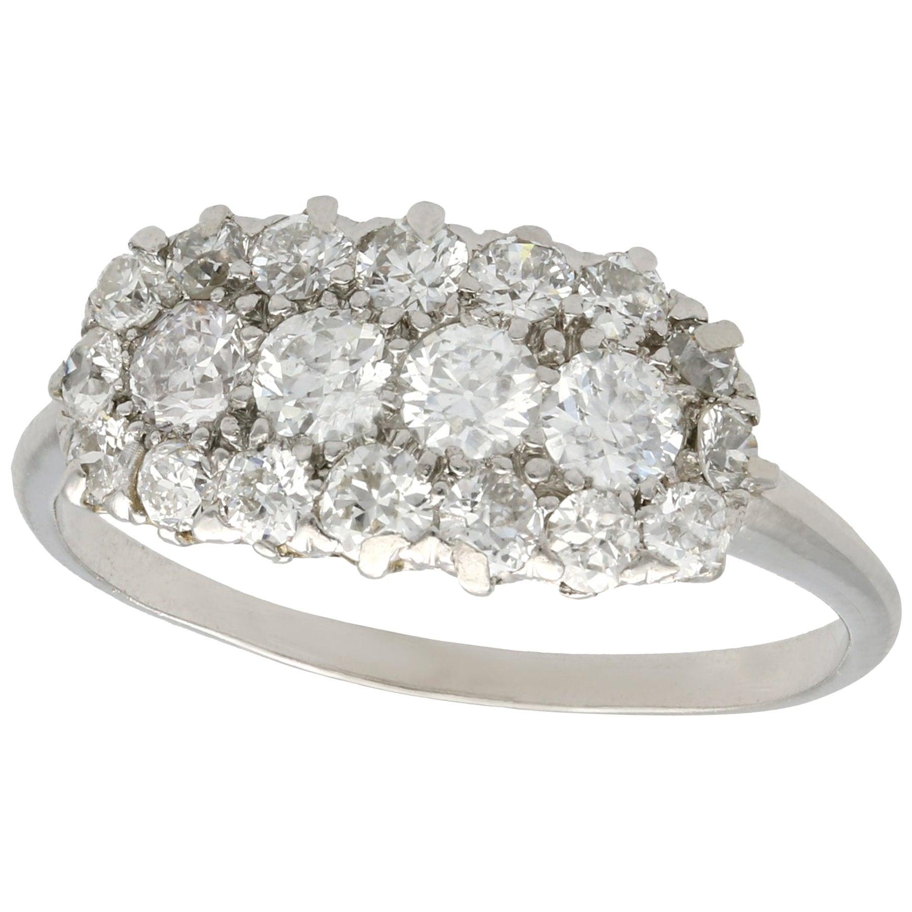 Antique 1920s Diamond and Platinum Cluster Ring