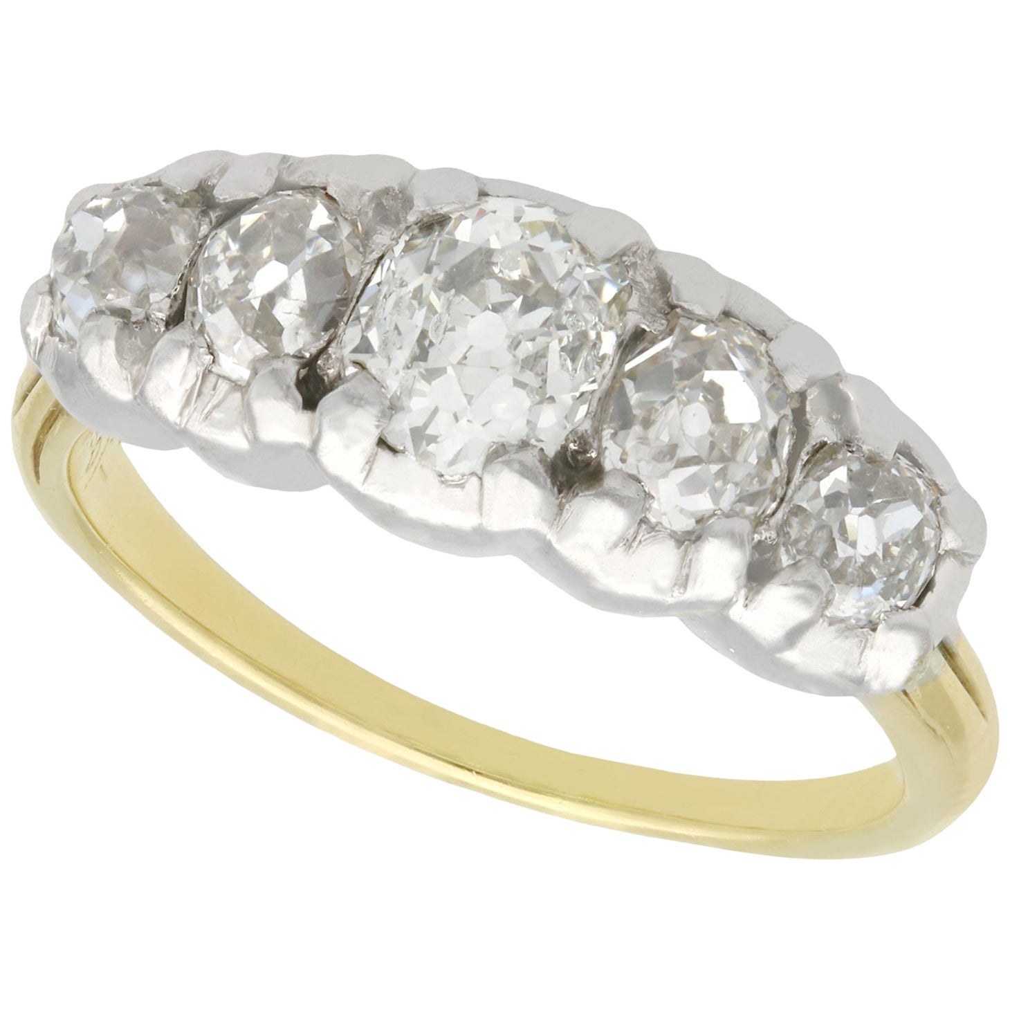 1900s Antique 1.32 Carat Diamond and Yellow Gold Five-Stone Ring