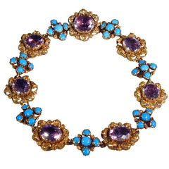 Antique Amethyst, Turquoise and Gold Bracelet