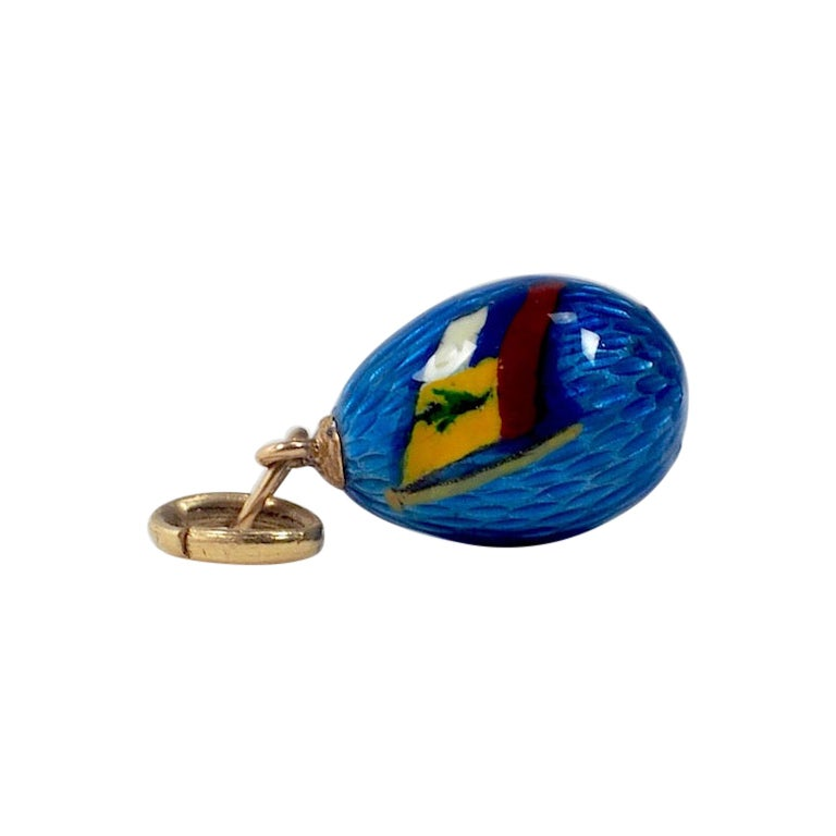 Antique Russian Guilloche Enamel Egg Pendant with Russian Imperial Flag
