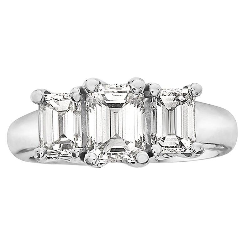 2.84 Carat Trilogy Platinum Emerald Cut Engagement Ring