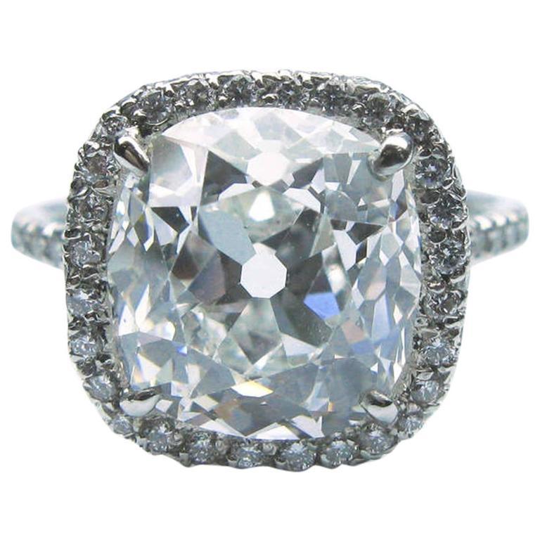4.88 Carat GIA G VS2 Antique Cushion Diamond Platinum Frame Ring