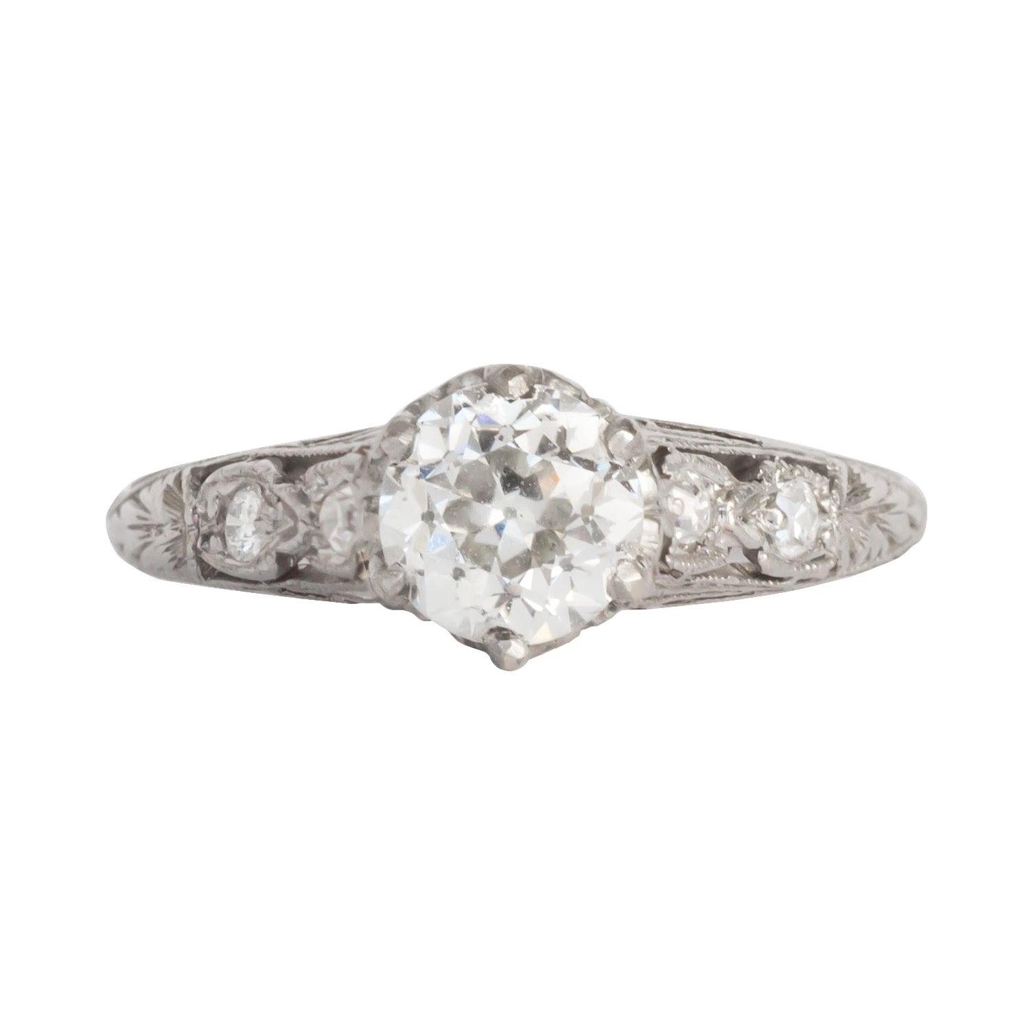 Edwardian .93 Carat Old European Cut Diamond Platinum Engagement Ring