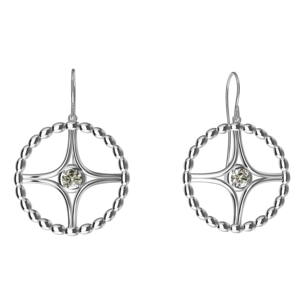 18 Karat White Gold GIA Diamond Nautical Bead Hoop Earrings