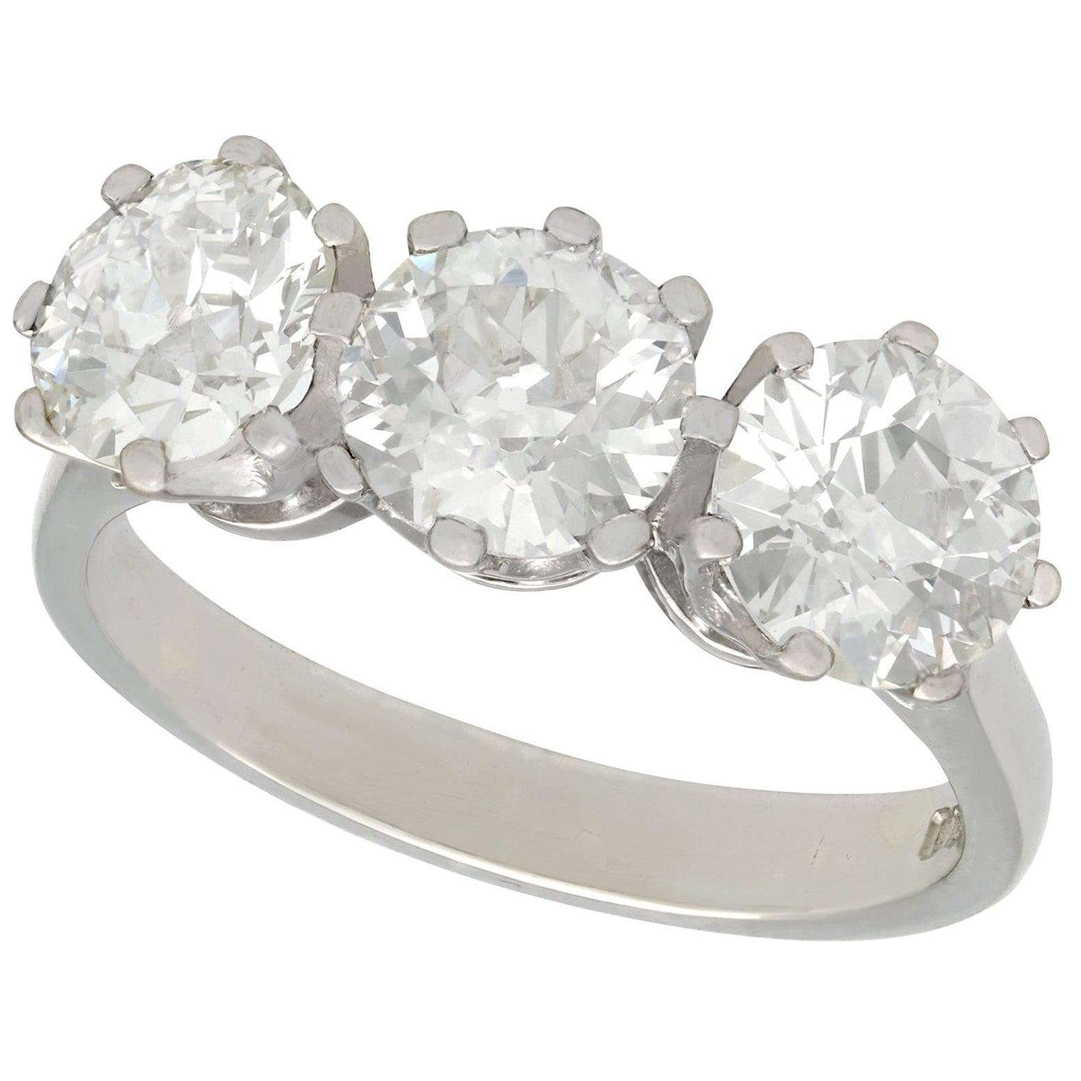 GIA Certified 3.09 Carat Diamond and Platinum Trilogy Ring