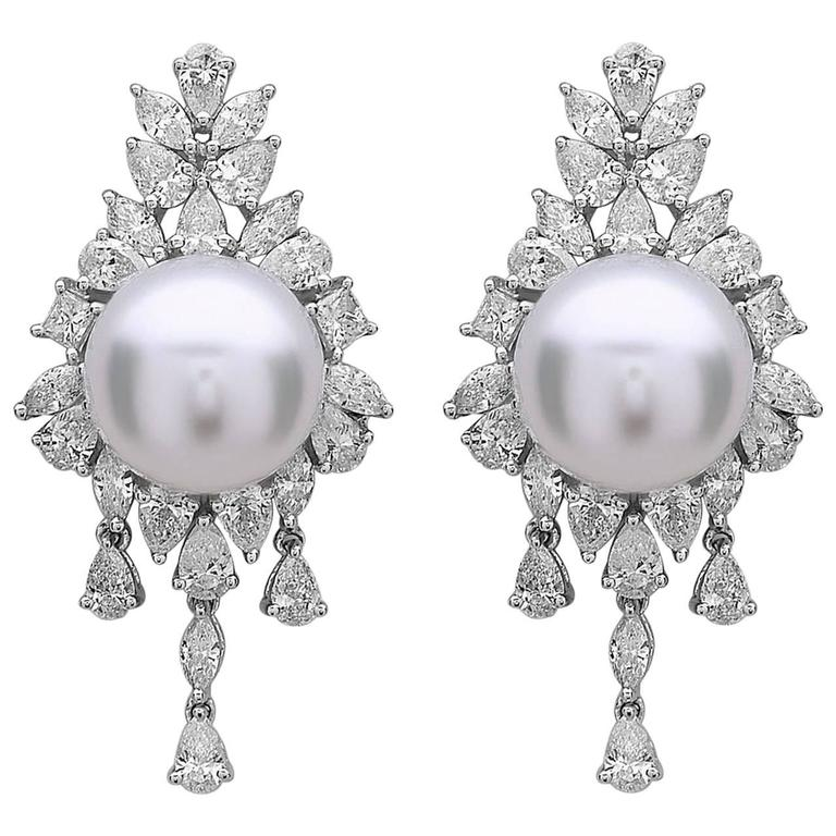 South Sea Pearl Diamond Gold Dangle Earrings