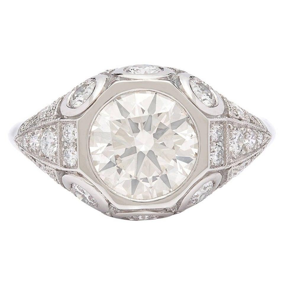 1.94 Carat Diamond Platinum Engagement Ring