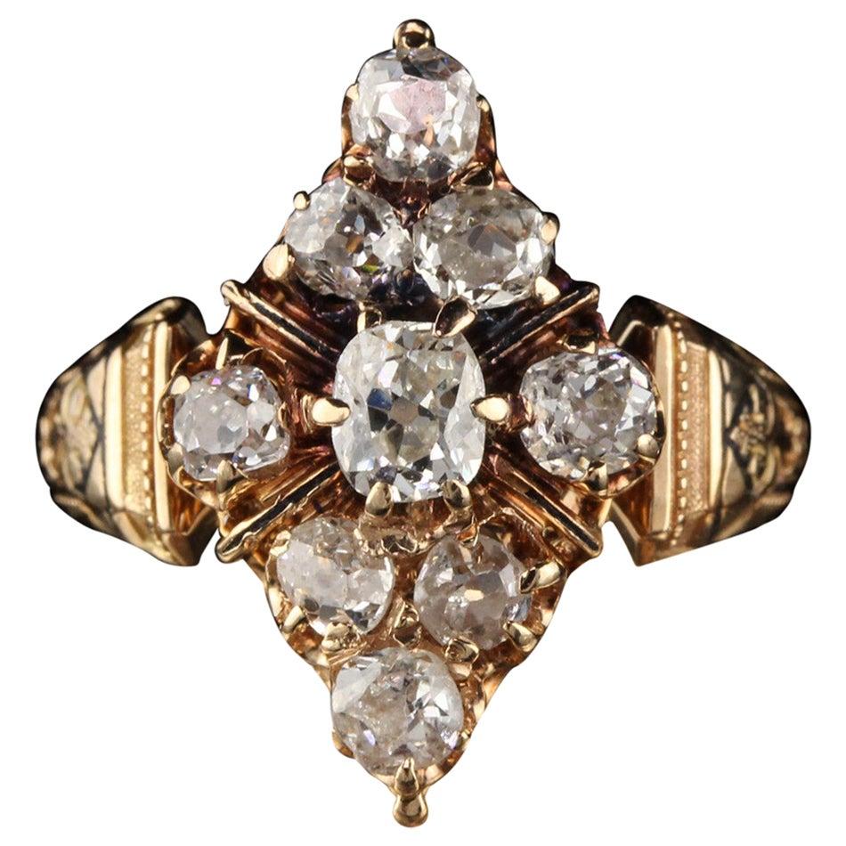 Antique Victorian 18 Karat Yellow Gold Old Mine Cut Diamond Shield Ring