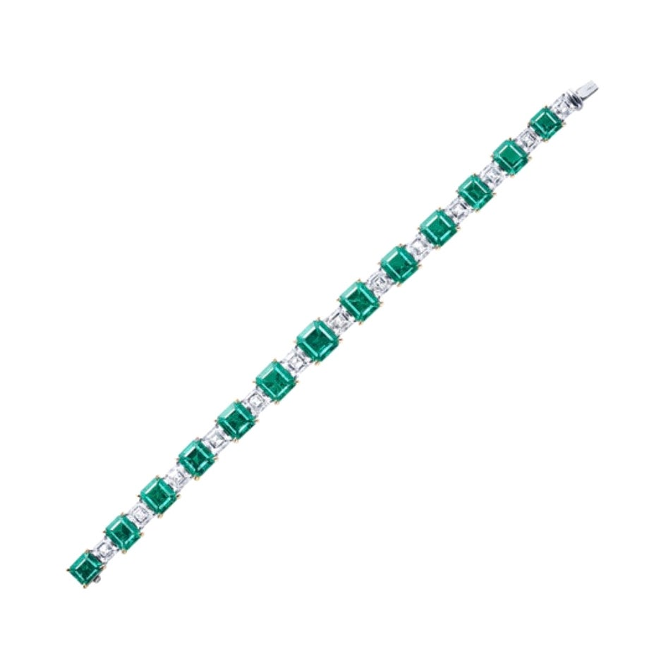 Emilio Jewelry 22 Carat Muzo No Oil Untreated Certified Emerald Diamond Bracelet