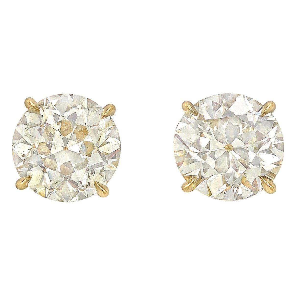 Circular Brilliant Diamond Stud Earrings '4.14 Carat'