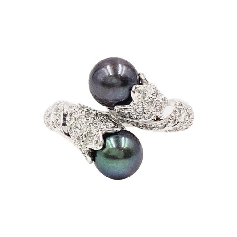 18 Karat White Gold Tahitian Pearl and Diamond Toi et Moi Bypass Ring
