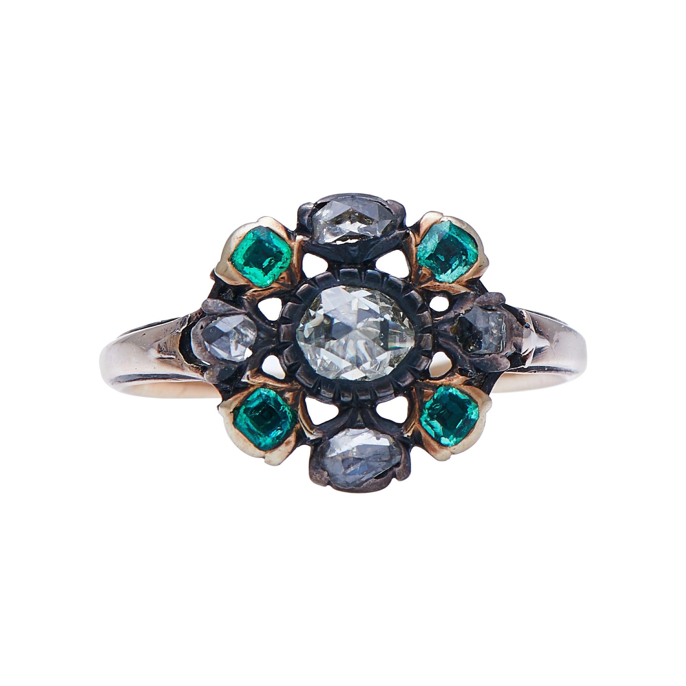 Antique Georgian, 18th Century, 18 Carat Gold, Emerald and Diamond Cluster Ring
